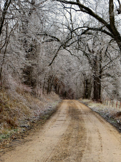 Ozark road after an ice storm