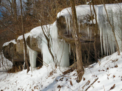 line of ice waterfalls