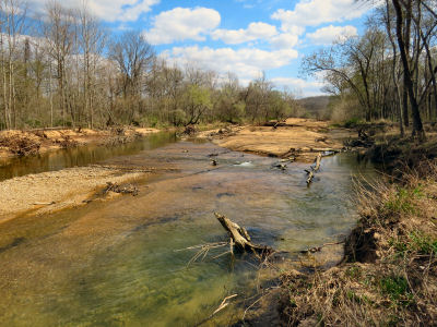 exploring river banks along the upper Meramec River